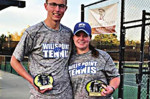 Josh Schreffler and Grayce Malone won first overall in A mixed doubles during Wills Point's first tournament appearance of the spring season.