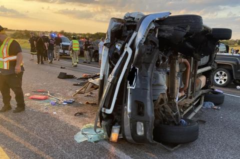 Nine transported to hospital following accident
