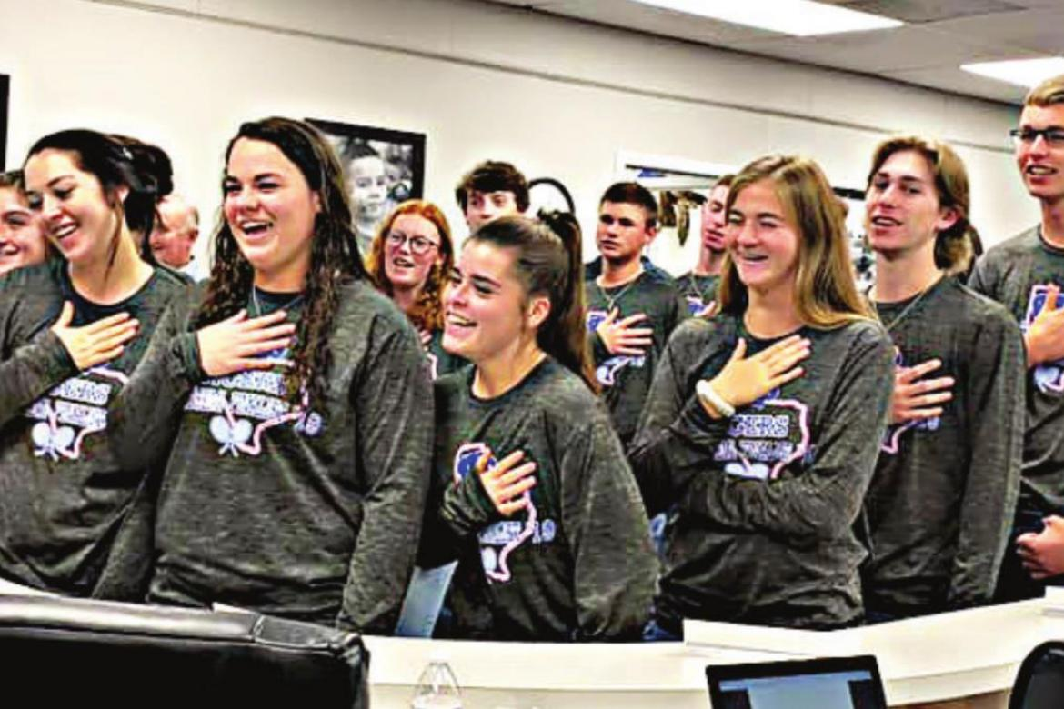 The Wills Point Tiger tennis program, which finished the fall season third overall in the 4A classification, led the pledges during the Feb. 11 board of trustees meeting. Photo by Monica LaJone